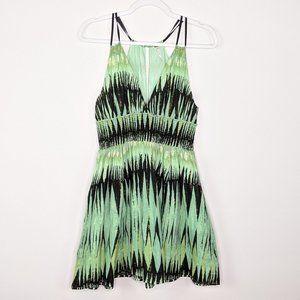 Free People Green Indian Summer Lurex Dress M Gold